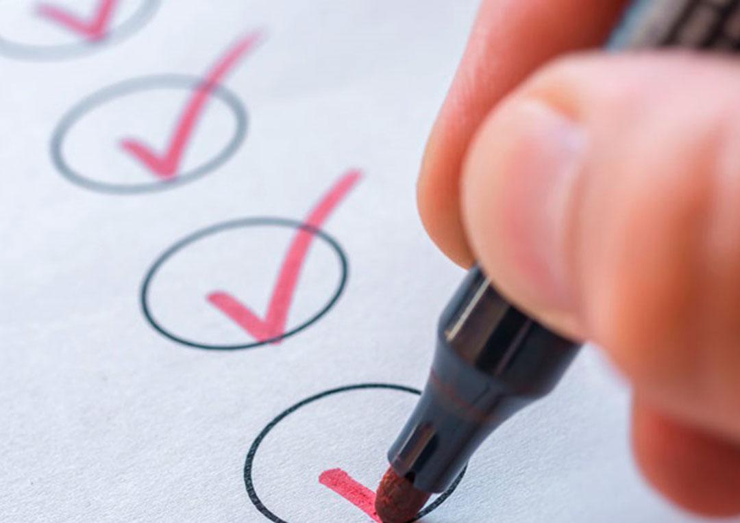 papel com bolinha para assinalar checklist